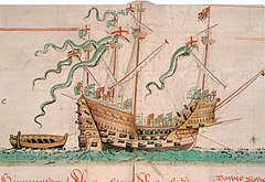 """Mary Rose"" na ilustracji w ""Anthony Roll"", ok. 1546"