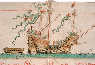 "Mary Rose - The Mary Rose as depicted in the Anthony Roll. The distinct carrack profile with high ""castles"" fore and aft can clearly be seen. Although the number of guns and gun ports is not entirely accurate, the picture is overall an accurate illustration of the ship."
