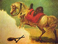 Uma pintura inacabada de um cavalo cinza selado de perfil se afastando de algo como se estivesse assustado.