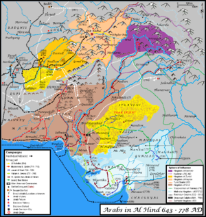 Muslim conquests of the Indian subcontinent - Arab campaigns in the Indian Subcontinent. A generic representation, not to exact scale.