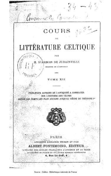 File:Arbois de Jubainville - Cours de littérature celtique, tome 12.djvu