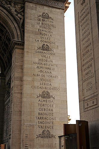 French victories of the Peninsular War inscribed on the Arc de Triomphe Arc de Triomphe mg 6835.jpg