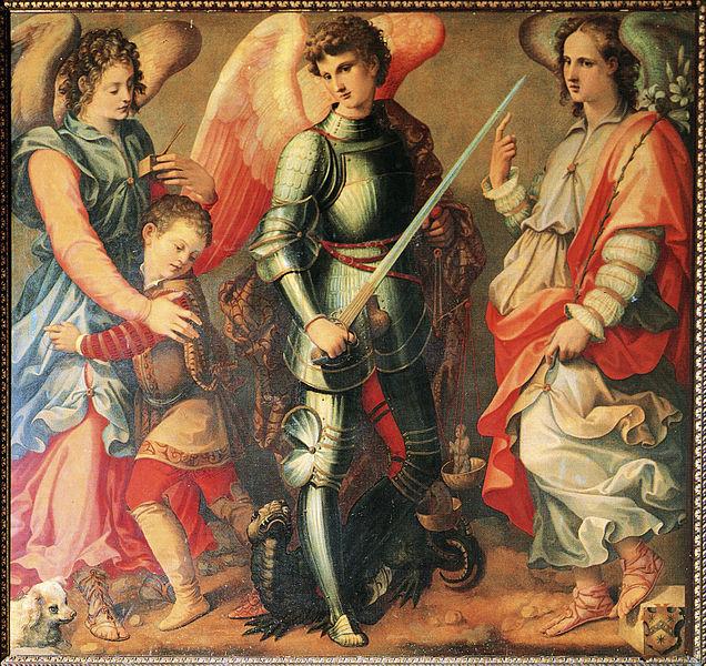 i tre Arcangeli: Raffaele, Michele, Gabriele dans immagini sacre 636px-Arcangeli-tosini