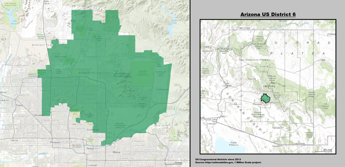 Map Of Arizona 5th Congressional District.Arizona S 6th Congressional District Wikipedia