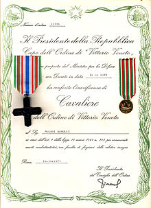 """Number of Order 11996/ The President of the Republic/ Head of the Order of Vittorio Veneto/ on proposal of the Minister of Defence/ with Decree dated 16.06.1973/ has conferred the honour of/ Knight /of the Order of Vittorio Veneto/ on Mr. Arnolfo Mugnai /in accordance with Art. 4 of the Law No. 263 of 18 March 1968 in recognition of/ merit for combat, with right to bear the relative insignia/ Rome, 16.06.1973/ (Signed) the President of the Council of the Order."""