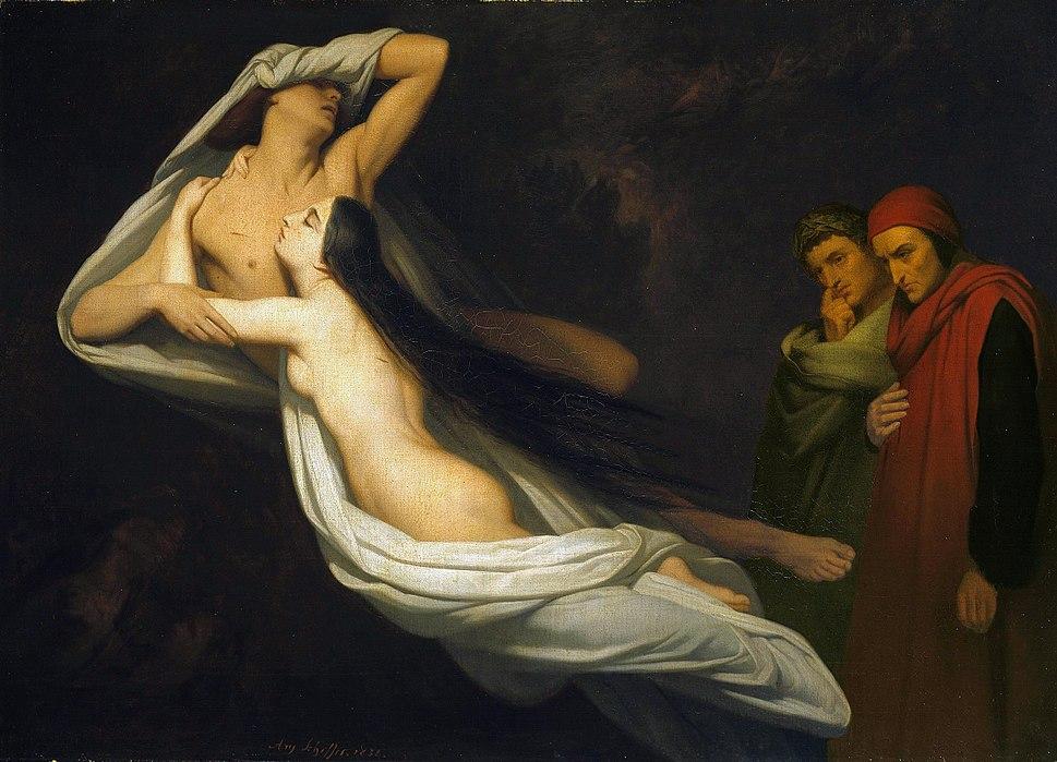 Ary Scheffer - Francesca da Rimini en Paolo Malatesta aanschouwd door Dante en Vergilius 1854