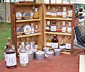Assortment of medicines used during the American Civil War displayed at the reenactment of the battle of corydon.jpg