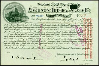 Atchison, Topeka and Santa Fe Railway - Gold bond of the Atchison, Topeka and Santa Fe Railroad Company, issued 1. October 1889