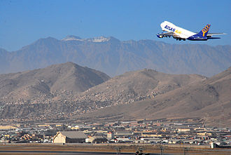 Hamid Karzai International Airport - An American Atlas Air plane flying off from Kabul Airport in 2010.