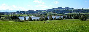Bernbeuren - Lake Haslach near Bernbeuren with Mount Auerberg