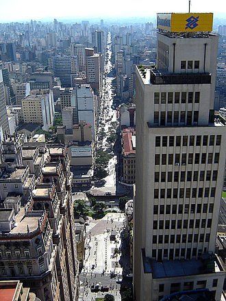 A Banco do Brasil office in Sao Paulo, Brazil, the bank is the largest financial institution in Brazil and Latin America. Avenida Sao Joao, Sao Paulo 2006.jpg