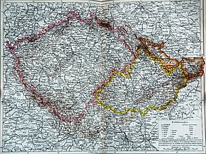 Historical map showing Bohemia proper in pink, Moravia in yellow, and Silesia in orange