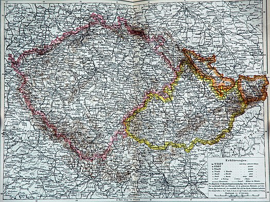 An 1892 map showing Bohemia proper outlined in pink, Moravia in yellow, and Austrian Silesia in orange Bohmen Mahren Osterreich Schlesien.jpg