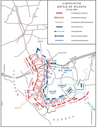 Battle of Atlanta - A sketch of the Battle of Atlanta, July 22, 1864.