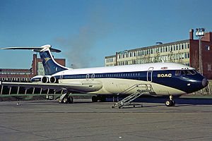 Aircraft livery - A British Overseas Airways Corporation (BOAC) VC10 with a cheatline running the length of the fuselage