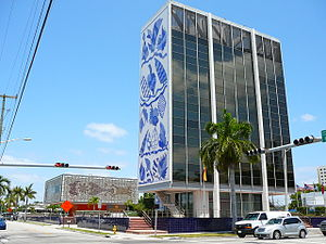 Edgewater (Miami) - The Bacardi Building on NE 21 St and Biscayne Blvd, is a landmark building in Edgewater, built in the MiMo style