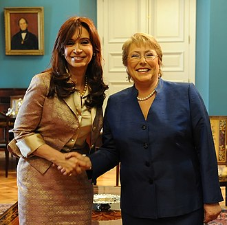 Pink tide - Return of the peronist government in Argentina under kirchnerism by Cristina Kirchner alongside the Allende's Socialist Party led by Michelle Bachelet in Chile.