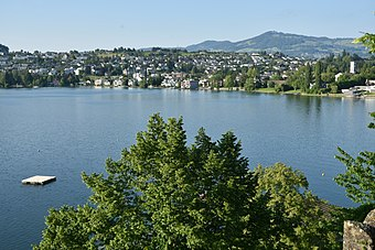 Area of the former vicus: Kempraten and the bay of Kempraten on Zürichsee lakeshore towards Rapperswil as seen from Rapperswil Castle