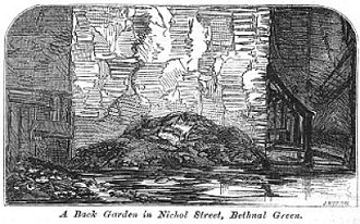 """Old Nichol - """"A back garden in Nichol Street, Bethnal Green"""" from The Builder (1863)"""