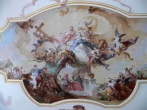 Johann Wolfgang Baumgartner -  The Assumption and Crowning of Mary, painted ceiling in the transept of Baitenhausen church, 1760