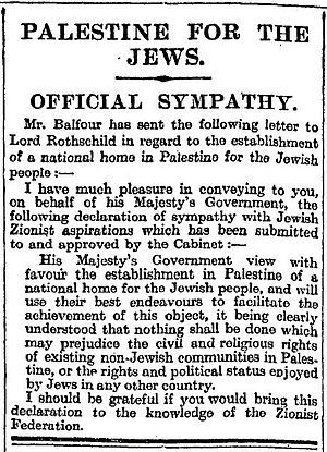 Times New Roman - The Times previous typeface from an article describing the Balfour Declaration in 1917.