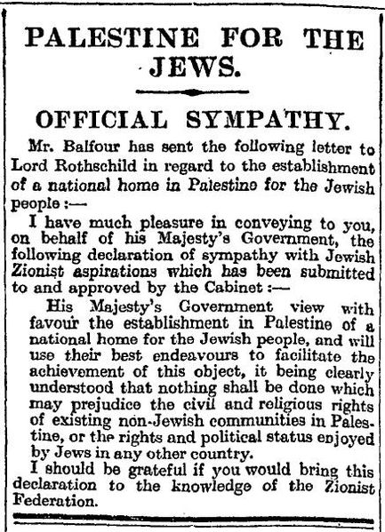 Balfour Declaration in the Times 9 November 1917