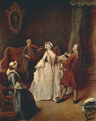 Pietro Longhi - La lezione di danza (The Dancing Lesson), ca 1741, Venezia, Gallerie dell'Accademia