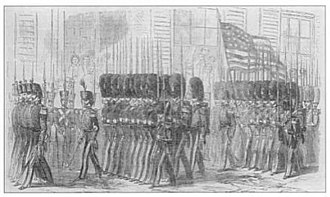 """First Light Division, Maryland Volunteers - The Baltimore City Guards march through Charleston in 1859, wearing bearskins """"taller than the Grenadier Guards""""."""