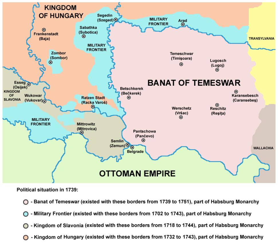 Die österreichisch-osmanische Grenze nach dem Frieden von Belgrad
