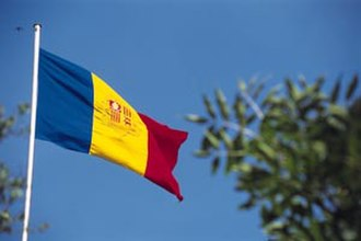 Flag of Andorra - The flag of Andorra in flight
