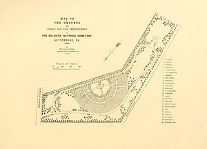 Gettysburg National Cemetery - 1863 map of Soldiers' National Cemetery
