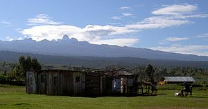 Mount Kenya - Several ethnic groups that live around Mount Kenya believe the mountain to be sacred. They used to build their houses facing the mountain, with the doors on the side nearest to it.