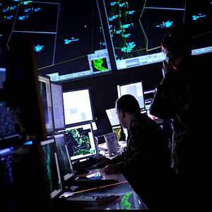 Joint Surveillance System - USAF Battle Control System operators monitor the skies from the floor of the program's Eastern Air Defense Sector location.