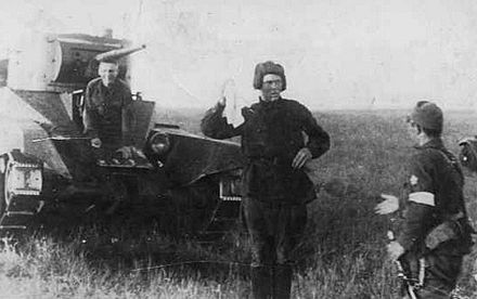Crew of a BT-5 cavalry tank surrendering to the Japanese Battle of Khalkhin Gol-Soviet tank surrendered.jpg
