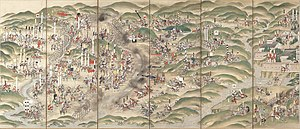 Battle of Nagashino - Battle of Nagashino pictured on a Byōbu screen