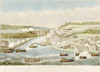 Battle of Queenston Heights - The Battle of Queenston Heights by eyewitness James B. Dennis depicts the unsuccessful American landing on 13 October 1812. The village of Queenston is in the right foreground, with Queenston Heights behind. Lewiston is in the left foreground