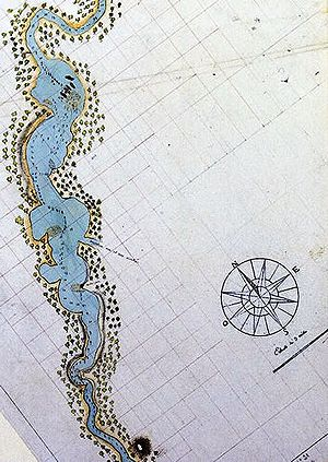 Swan River Colony - The first detailed map of the Swan River, drawn by the French in 1801