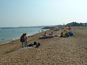 Greenhill, Dorset - View on the beach looking southwest towards central Weymouth.