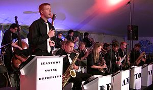 picture of John Stevens singing with the Beantown Swing Orchestra