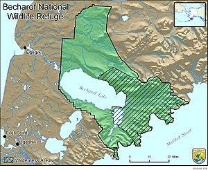 Becharof Wilderness - Map of Becharof National Wildlife Refuge. Striped area indicates Becharof Wilderness.