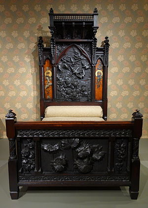Benjamin Pitman - Image: Bedstead by Benn Pitman designer, Adelaide Nourse Pitman carver, Elizabeth Nourse painter, 1882 1883, American black walnut and painted panels Cincinnati Art Museum DSC03059