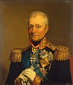 Portrait of Bennigsen in highly-decorated uniform with white-gloved hands resting on the hilt of his sword in front of him