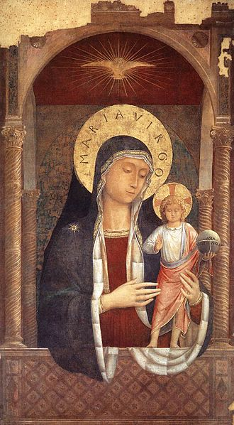 Benozzo Gozzoli - Madonna and Child Giving Blessings, Santa Maria Sopra Minerva, Rome, 1449 (also attributed to Fra Angelico).