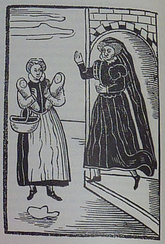 Margaret of Holland, Countess of Henneberg - Margaret insults the beggar. Print from 1620.