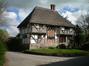 Hall house - The Yeoman's House, Bignor, Sussex, a three-bay Wealden hall house.