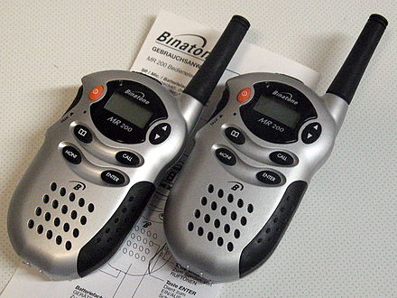 "Walkie talkies which operate on the 446 MHz PMR (Professional Mobile Radio) band. The 67 cm wavelength permits them to use very short ""Rubber Ducky"" antennas. Binatone MR 200 radio 1.jpg"