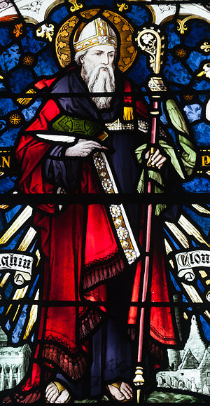 Ciarán of Clonmacnoise - A stained glass of St. Ciarán from St. Brendan's Church, Birr, County Offaly, Ireland.
