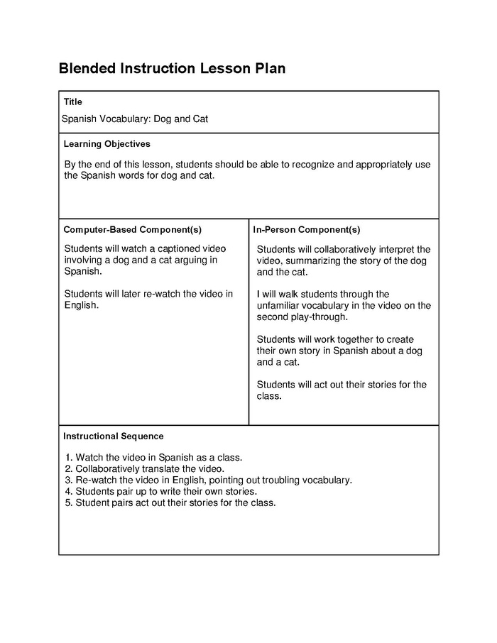 blended instruction lesson template example mrskinner