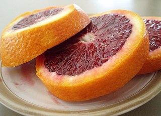 blood orange slices on a plate