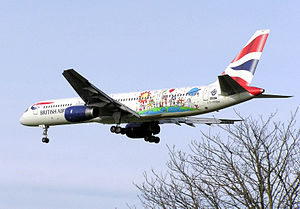 Blue Peter - The specially painted Blue Peter British Airways Boeing 757 landing at London Heathrow Airport.